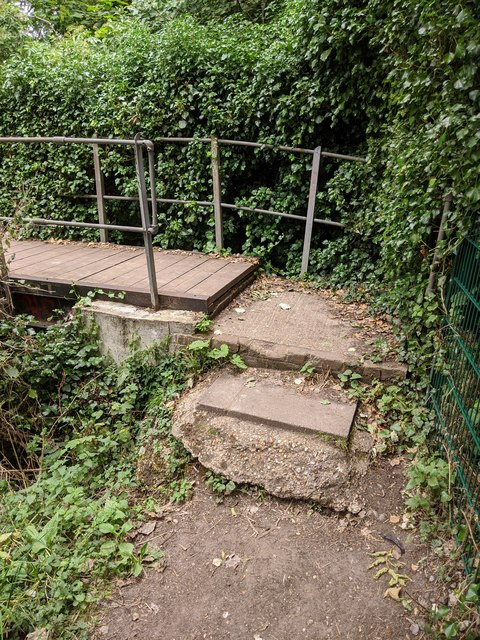Darent Valley Path - steps leading to footbridge (east side of river)