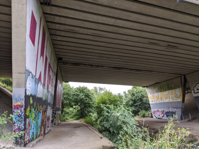 Darent Valley Path and River Darent under the M25