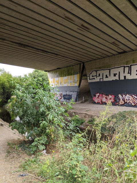 M25 bridge crossing Darent Valley Path and River Darent