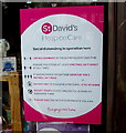 ST3091 : St David's Hospice Care shop social distancing notice, Larch Grove, Malpas, Newport by Jaggery