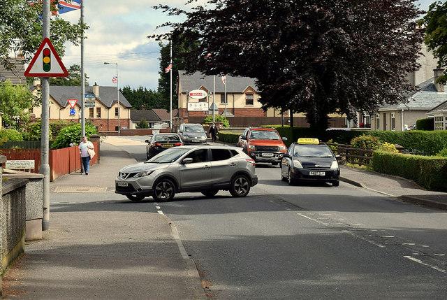 Traffic along Hospital Road, Omagh