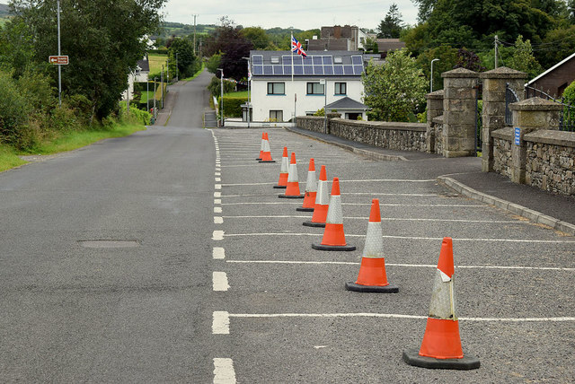Traffic cones along Castletown Road, Tattraconnaghty