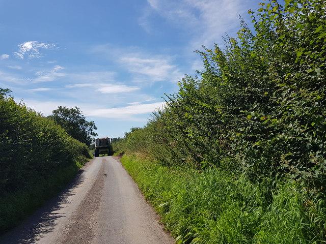Combine harvester blocking Elmbridge Lane