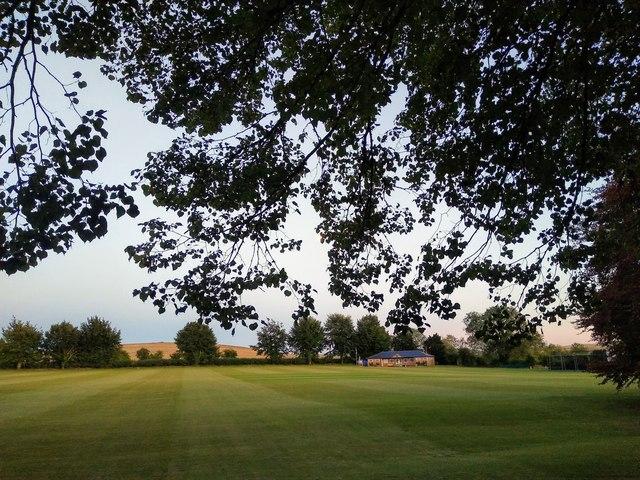View over Avebury Cricket Ground at dusk
