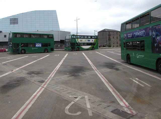 Three double-deckers in Friars Walk bus station, Newport