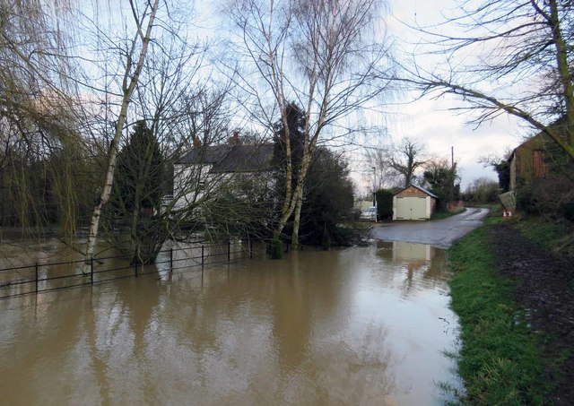 Flooded Mill Lane eastwards
