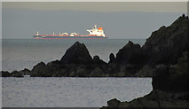 SX9364 : Rocks and ship from Anstey's Cove by Derek Harper