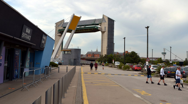 The Hull Tidal Surge Barrier seen from outside The Deep