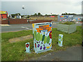 SE2434 : Painted utility cabinet, Stanningley Road, Bramley by Stephen Craven