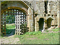 NZ4802 : The inner gate and a fireplace, Whorlton Castle Gatehouse by Humphrey Bolton