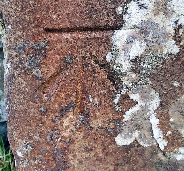 Benchmark on High Bishopside Moor gatepost