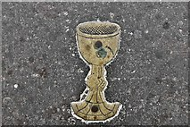 TM3464 : Rendham, St. Michael's Church: Floor brass, Thomas Kyng vicar 1523 by Michael Garlick