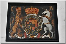 TM3464 : Rendham, St. Michael's Church: Royal Coat of Arms, Charles II on the south nave wall by Michael Garlick