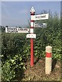 ST1434 : 'Red Post' fingerpost in Crowcombe parish by Marika Reinholds