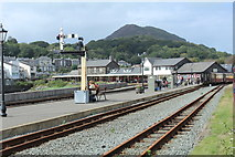 SH5738 : Porthmadog harbour station during Covid 2020 by Richard Hoare