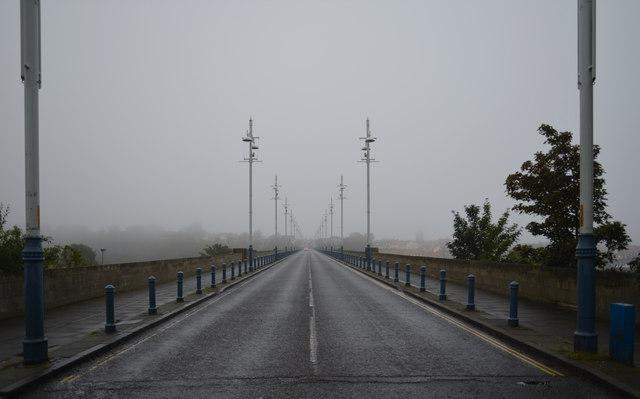 Misty view of Berwick along the Royal Tweed Bridge