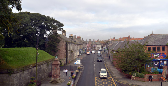 Castlegate (A1167) seen from the top of Scots Gate, Berwick