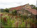 NZ8803 : Footpath passing a farm building, Leas Head Farm by Humphrey Bolton