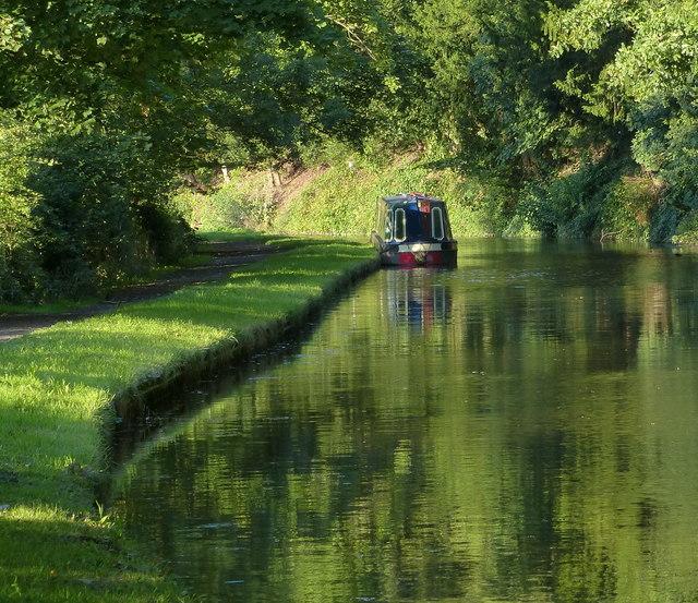 Moored narrowboat along the canal