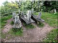 SO5932 : Carved picnic benches at the Capler Lodge viewpoint by Oliver Dixon