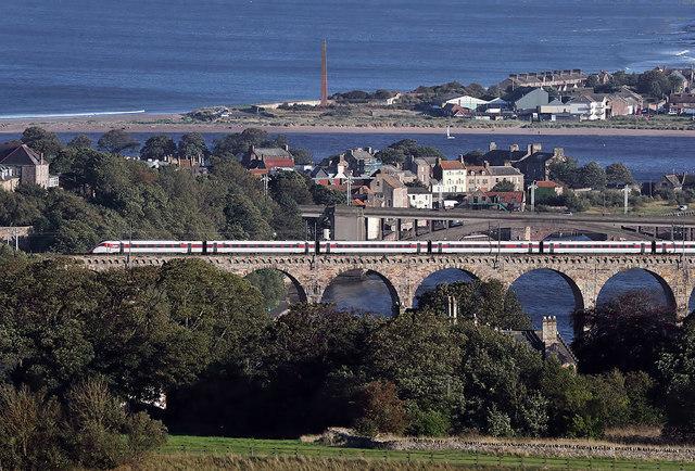 A train on the Royal Border Bridge at Berwick-upon-Tweed