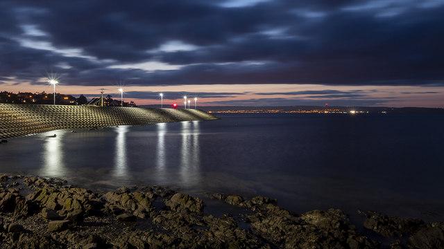 Bangor Bay at night