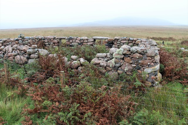 Blackhouse ruin on moorland edge at Toba Bhreaca