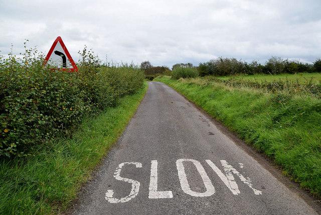 Slow markings along Tullyneil Road