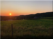 SJ9571 : Sunset from path behind Ridgegate Reservoir dam by Philip Cornwall