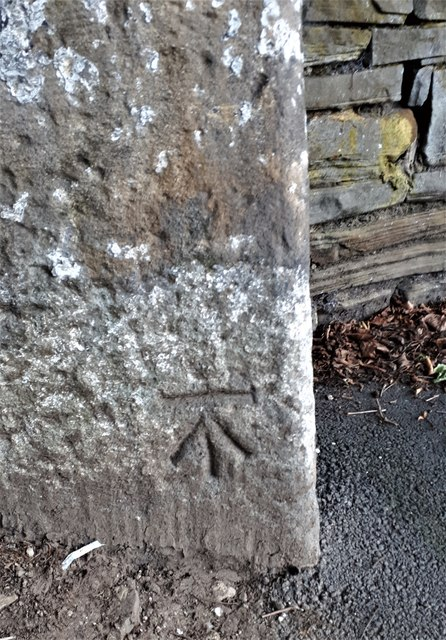 Benchmark on Milestone, Leeds Road, Rawdon