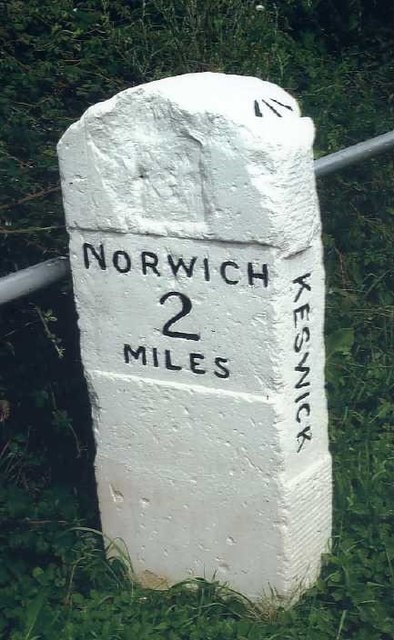 Old Milestone (south face) by the B1113, south of Harford Bridge