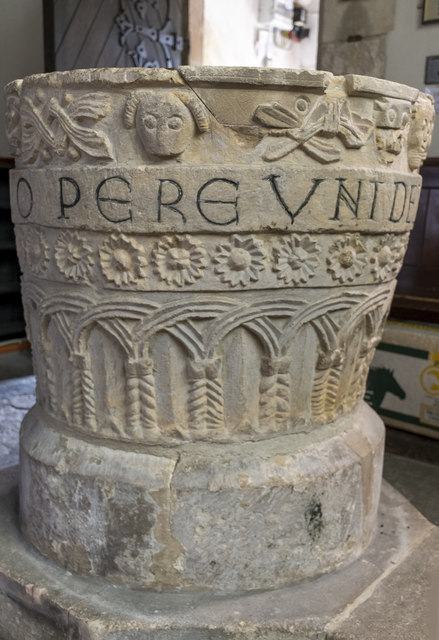 Norman font, All Saints' church, Lullington