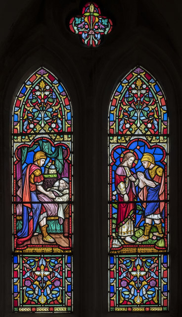 Stained glass window, All Saints' church, Lullington