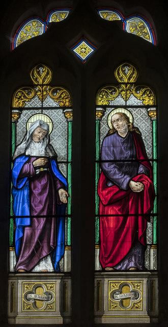 Enamel painted window, All Saints' church, Lullington