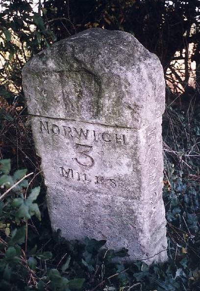 Old Milestone (south face) by the B1113, Keswick Parish, South Norfolk