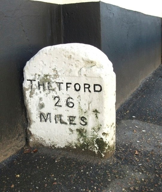 Old Milestone (north face) by Pond Farmhouse, Newmarket Road, Cringleford