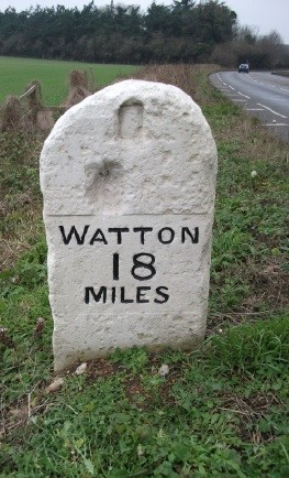 Old Milestone (east face) by the B1108, Colney