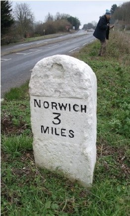 Old Milestone (west face) by the B1108, Colney