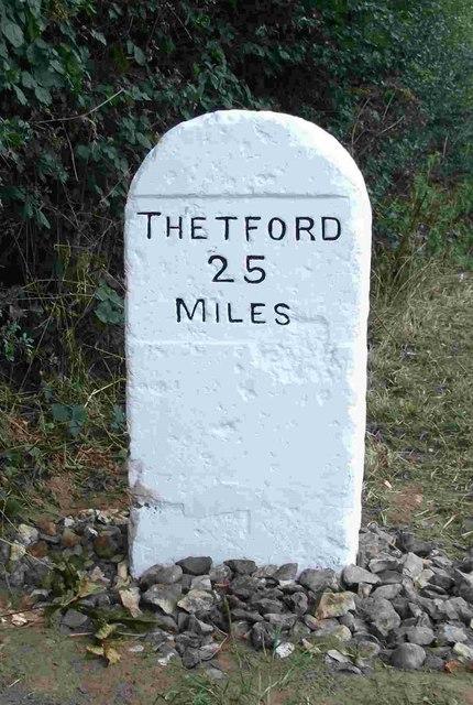 Old Milestone (east face) by the B1172, Norwich Road, Hethersett Parish