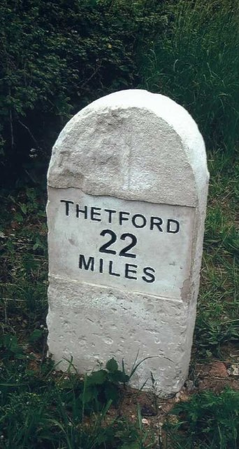 Old Milestone (east face) by the B1172, near Kett's Oak, Hethersett Parish