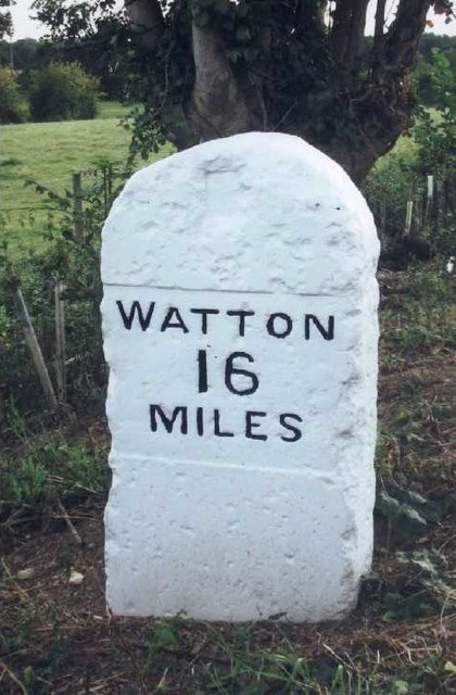 Old Milestone (east face) by the B1108, Bawburgh Parish