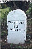 TG1407 : Old Milestone (east face) by the B1108, Bawburgh Parish by CW Haines