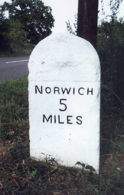 Old Milestone (west face) by the B1108, Bawburgh Parish