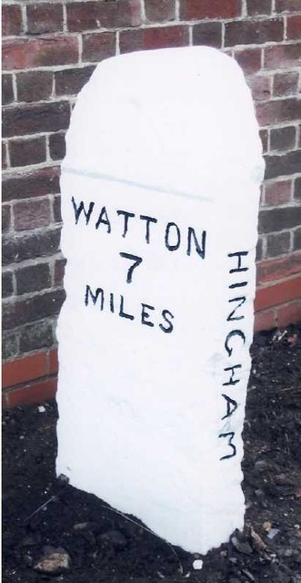 Old Milestone (east face) by the B1108, Norwich Road, Hingham