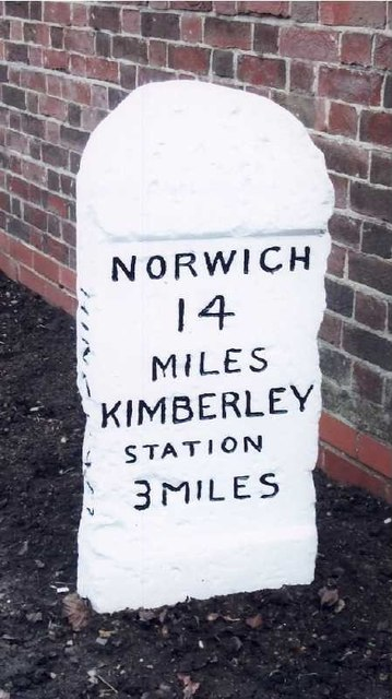 Old Milestone (west face) by the B1108, Norwich Road, Hingham