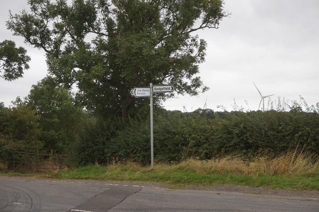 Road sign on Bishopton Lane