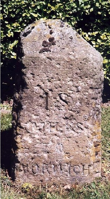 Old Milestone (west face) by the B1149, Norwich Road, Edgefield