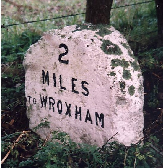 Old Milestone (south face) by the A1151, Wroxham Road, south west of Wroxham