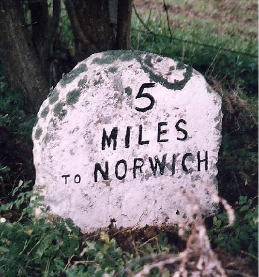 Old Milestone (north face) by the A1151, Wroxham Road, south west of Wroxham