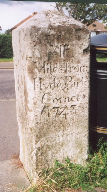 Old Milestone (south face) by the A315, Staines Road, Bedfont Green